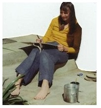 Judy working on an artists book, Northern California, circa 1976
